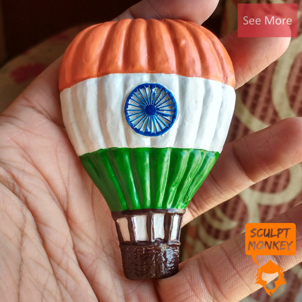 Indian Flag Hot Air Balloon Fridge Magnets - Preview