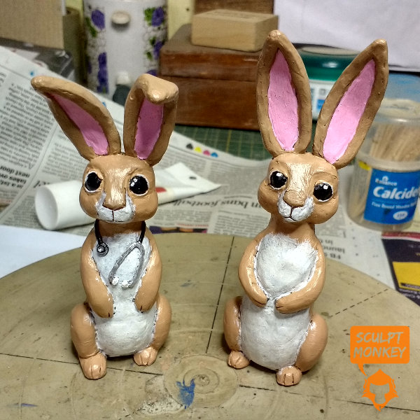 Custom Bunny Figurines - Father and Son