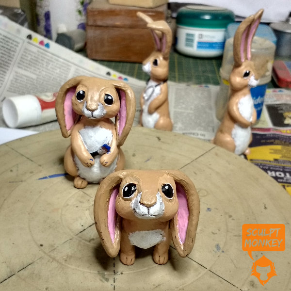 Custom Bunny Figurines - Mother and Daughter
