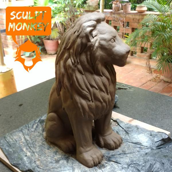 Stoneware Lions - Raw Clay Single