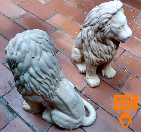 Stoneware Lions - Fired Pair